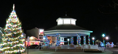 Rehoboth Beach Tree & Bandstand Decorated for the Holidays